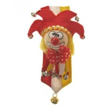 Broche clown rood/wit/geel + banner